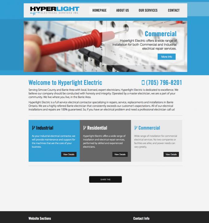 Hyperlight Electric - Barrie Electrical Website Development | Media ...