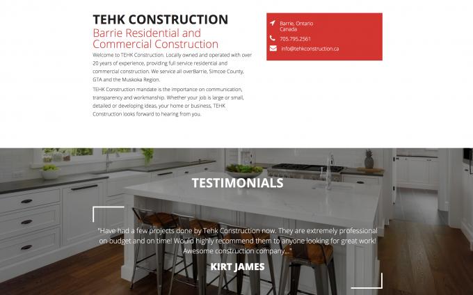 Tehk Construction Custom Website Design Project Media Suite Inc