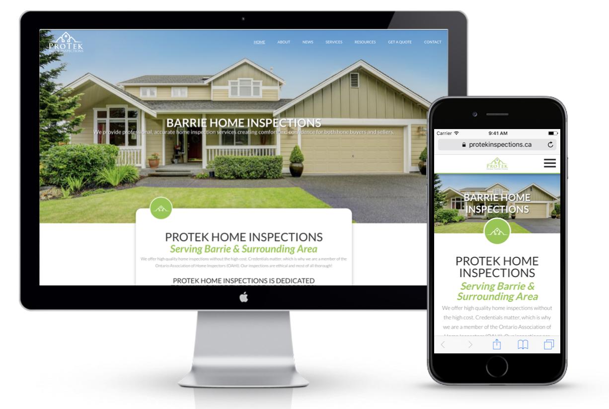 Protek Inspections - Barrie Web Design Project   Media Suite Inc.